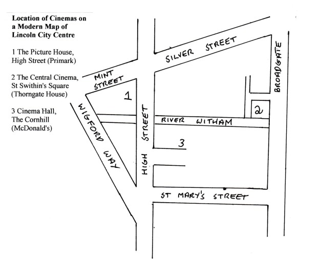 Map of Lincoln's Cinemas in 1916